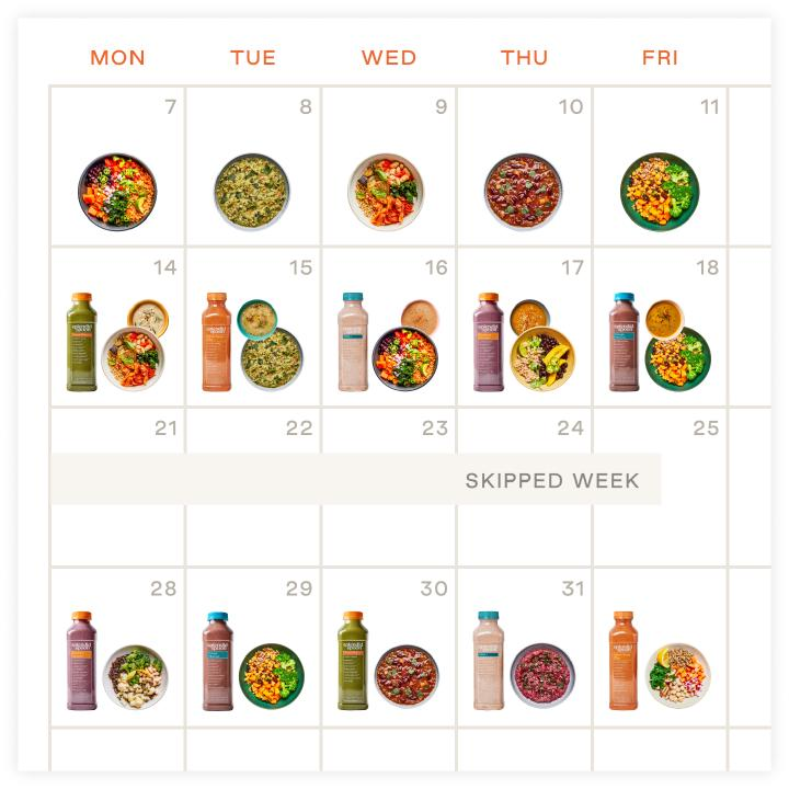 Calendar with meals every day