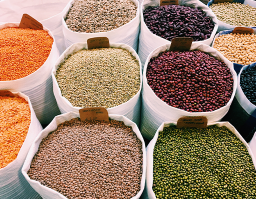 Different types of grains in bags
