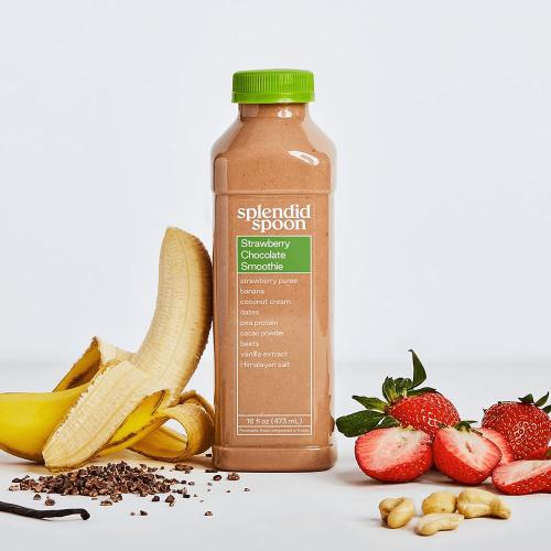 Strawberry Chocolate Smoothie with ingredients around it.