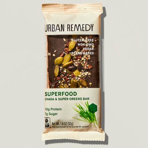 Superfood Chaga Protein Bar in Urban Remedy packaging